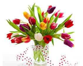 Photo Valentine's Day Tulips White background Vase Heart Ribbon