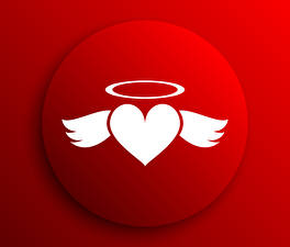 Images Valentine's Day Vector Graphics Red background Heart Wings