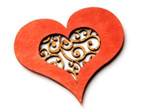 Hintergrundbilder Valentinstag Weißer hintergrund Herz Hölzern Design
