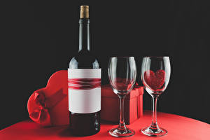Picture Valentine's Day Wine Black background Gifts Bow Stemware Bottle Heart Food