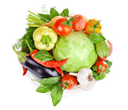 Images Vegetables Cabbage Tomatoes Eggplant Chili pepper Garlic White background Food
