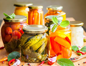 Photo Vegetables Cucumbers Allium sativum Jar Food