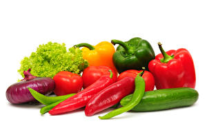 Image Vegetables Onion Bell pepper Cucumbers Tomatoes White background Food