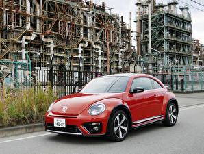 Hintergrundbilder Volkswagen Rot Metallisch 2016-19 Beetle R-Line Autos