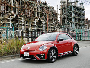 Bakgrundsbilder på skrivbordet Volkswagen Röd Metallisk 2016-19 Beetle R-Line Bilar