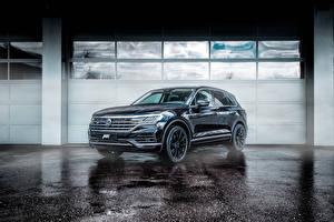 Hintergrundbilder Volkswagen Schwarz Metallisch 2018-19 ABT Touareg auto