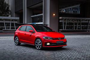 Bakgrundsbilder på skrivbordet Volkswagen Röd 2018 Polo GTI Bilar