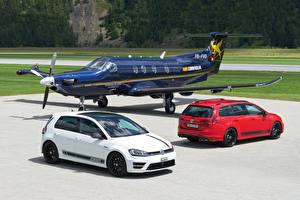 Fotos Volkswagen Flugzeuge 2 Metallisch 2012-16 Golf Autos Luftfahrt