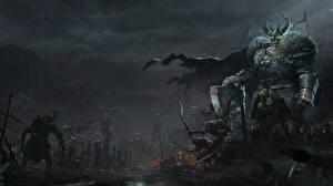 Fotos Krieger Ungeheuer Warhammer 40000 Rüstung Horn Spiele Fantasy