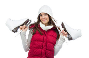 Image White background Brown haired Winter hat Ice skate Hands Girls Sport
