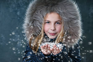 Image Winter Little girls Hands Children