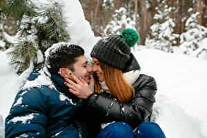 Image Winter Men Love Couples in love Two Brown haired Hands Girls