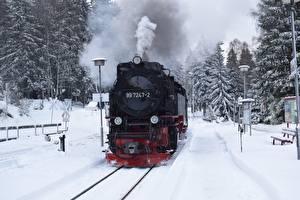 Bureaubladachtergronden Winter Treinen Spoorwegen Sneeuw Rook