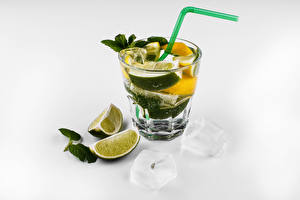 Wallpaper Alcoholic drink Mixed drink Lime Mojito White background Shot glass Food
