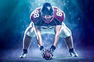 Fotos American Football Mann Uniform Helm Ball Sport