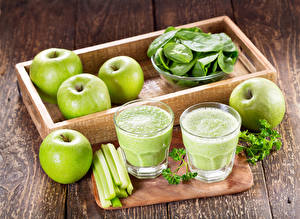 Wallpapers Apples Vegetables Smoothy Wood planks Highball glass Food