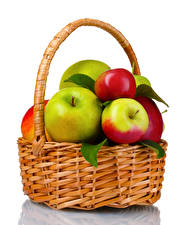 Wallpapers Apples White background Wicker basket Food