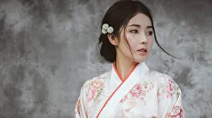 Bilder Asiatische Schön Kimono Braune Haare Mädchens