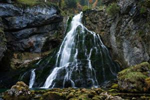 Bilder Österreich Wasserfall Felsen Laubmoose Golling Waterfall Natur