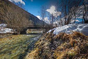 Fotos Österreich Winter Flusse Brücken Schnee Kohlenbach Tyrol Natur