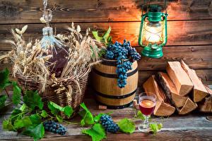 Wallpaper Barrel Grapes Wine Wood planks Lantern Stemware Spikes