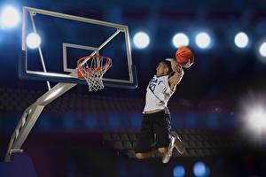 Bilder Basketball Mann Sprung Ball Sport
