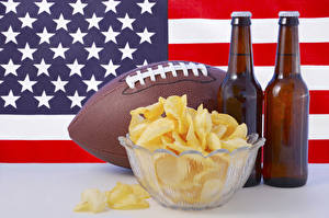 Fotos Bier USA Flagge Ball Flaschen Kartoffelchips