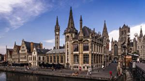 Hintergrundbilder Belgien Gent Haus Stadtstraße