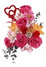 Hintergrundbilder Sträuße Rosen Inkalilien Weißer hintergrund Herz Blumen