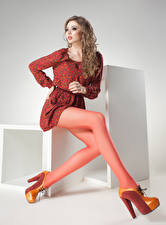 Picture Brown haired Frock Legs High heels Girls