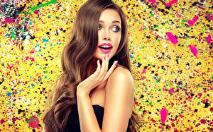 Image Brown haired Hair Hands Manicure Girls