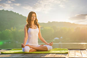 Images Brown haired Yoga Sitting Hands Singlet Girls Sport