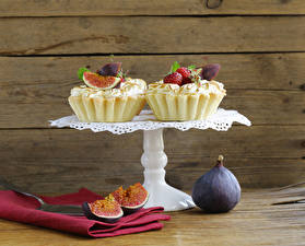 Pictures Cake Ficus carica Wood planks 2 Food