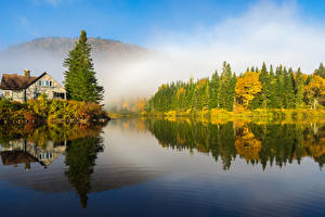 Fonds d'écran Canada Automne Lac Forêts Picea Quebec Nature