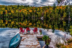 Bilder Kanada Wälder See Schiffsanleger Boot Spiegelung Spiegelbild Ontario