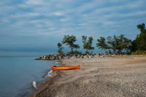 Fotos Kanada See Küste Boot Steine Toronto Lake Ontario