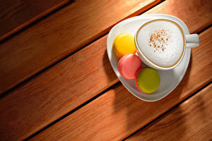 Picture Cappuccino Coffee Wood planks Cup Macaron Food