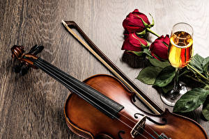 Wallpapers Champagne Roses Violin Stemware Flowers