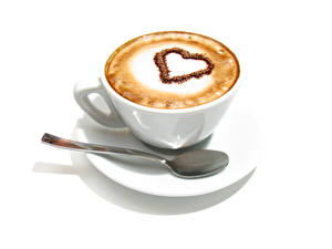 Image Coffee Cappuccino White background Cup Spoon Heart