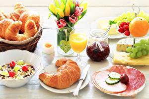 Picture Croissant Juice Jam Sausage Fruit Muesli Tulip Breakfast Jar Stemware Sliced food Egg Heart Food
