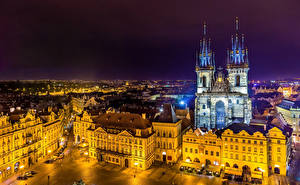 Picture Czech Republic Prague Building Temples Night time Street Cities