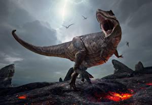 Hintergrundbilder Dinosaurier Tyrannosaurus rex Grinsen 3D-Grafik