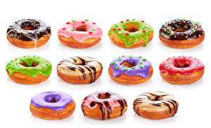 Hintergrundbilder Donut Schokolade Weißer hintergrund Mehrfarbige Lebensmittel