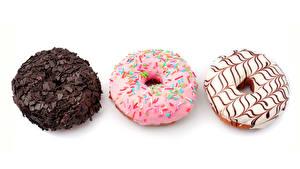 Fotos Donut Backware Schokolade Weißer hintergrund Drei 3
