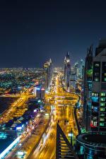 Bakgrunnsbilder De forente arabiske emirater Dubai Bygning Vei Megalopolis Natt byen