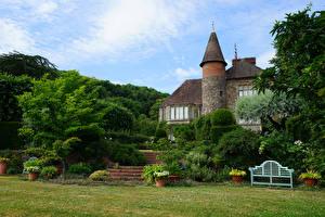 Pictures England Gardens Mansion Shrubs Little Malvern Nature