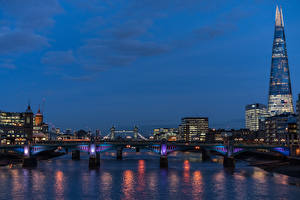 Bilder England Haus Flusse Brücken Abend London