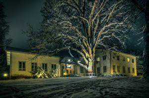 Hintergrundbilder Finnland Winter Haus Nacht Bäume Schnee Karkkila Städte