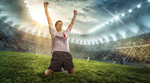 Wallpaper Footbal Man Lawn Hands Joyful Stadium Sport