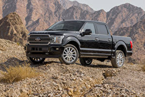 Bilder Ford Pick-up Schwarz Metallisch 2018 F-150 Limited SuperCrew
